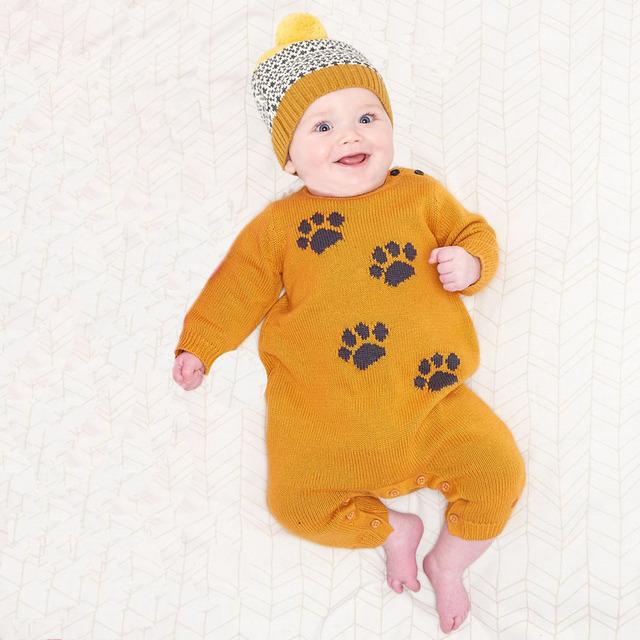 Recém-nascidos do Bebê Tricô de lã Meninas Roupas Coral Fleece Inverno Macacão Menino Dos Desenhos Animados Roupas Infantis Bebês da Garra de Urso Para Baixo Snowsuit