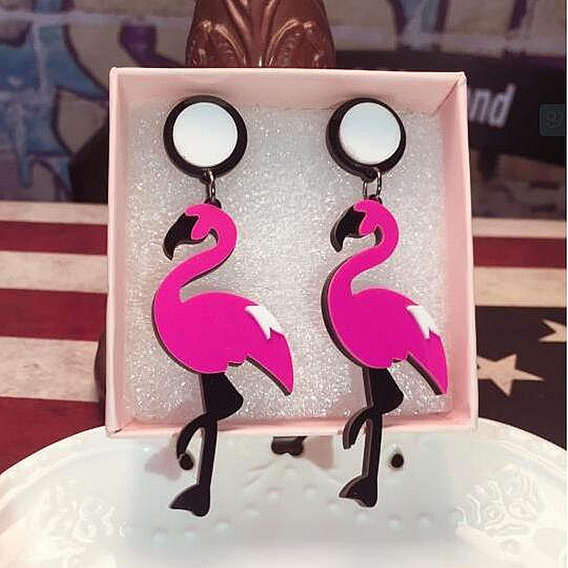 Fashion Big Acrylic Flamingo Drop Earrings For Women Girl 39 s Punk Birds Dangle Long Earrings Female Brincos Party Jewelry in Drop Earrings from Jewelry amp Accessories