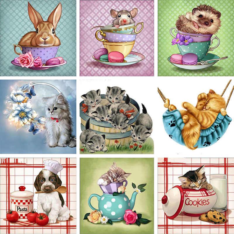 Diy 다이아몬드 그림 동물의 컵 개 마우스 고양이 전체 라인 석 크로스 스티치 모자이크 다이아몬드 자수 주전자 바느질
