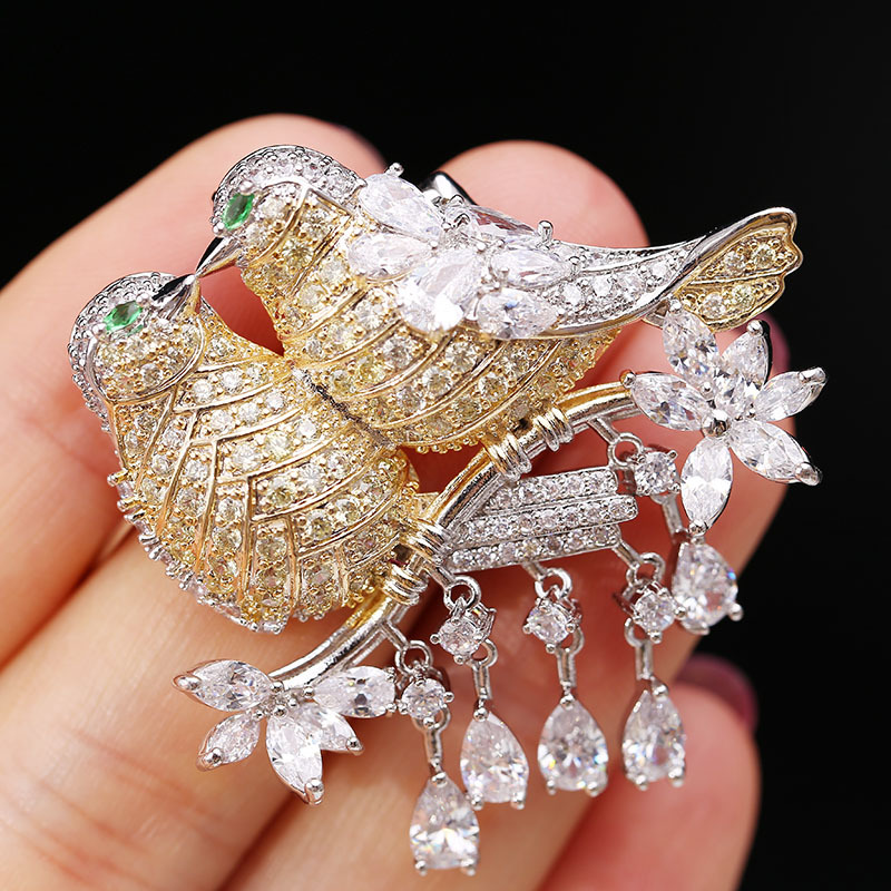 Korean fashion brooch two magpies on the branches love birds female accessories brooch zircon upscale