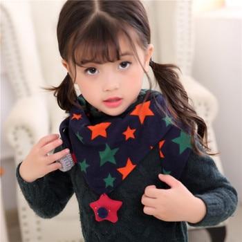 Children Autumn Printed Scarf Boys Girls Cotton Scarf Kid Star Pendant Neckerchief -MX8