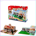 Ceramic Building Blocks Model Kits DIY Police station and Fire Station Two-in-one Natural materials Simulation Building