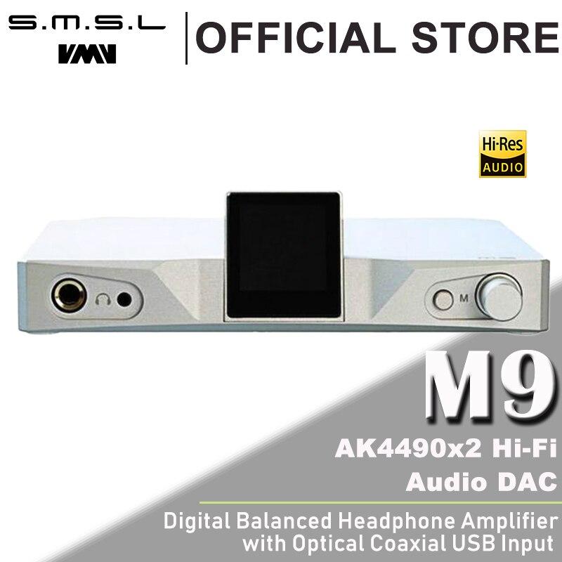SMSL M9 Headphone Amplifier AK4490x2 32bit/768kHz DSD512 XMOS Hi-Fi Audio DAC Digital to Analog Converter Balanced RCA Output цены онлайн