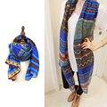 2016 Европейский зима длинный шелковый шифон шарф платок и Новый Дамы пляжное полотенце шарф