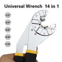 Drehmoment einstellbar spanner werkzeug mini open auto reparatur universal multifunktionsschlüssel schlüssel 14 in 1 1/4 5/16 3/8 7/16 1/2
