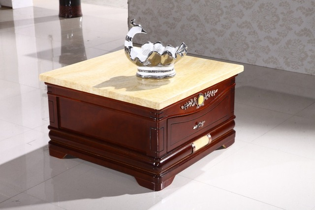 Antique Wooden Corner Side Table Storage Drawer Marble Top Made In China  Living Room Furniture