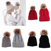 Baby Knitted Cotton Hat Boy Girl Toddler Cute Crochet Beanies Fur Ball Kids Hats Caps Family