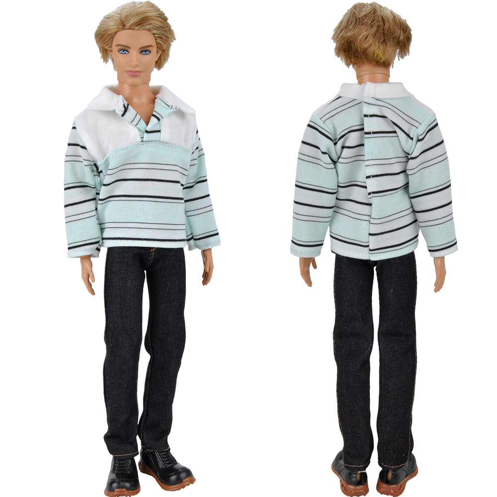 E-TING Handmade Informal Put on Garments Shirt Trousers Fits For Barbie Ken Doll S