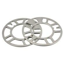 2x Universal 5 MM Espaçadores de Roda de Liga de Alumínio Placa de Adaptador Shims 4/5 de Prata Do Parafuso Prisioneiro