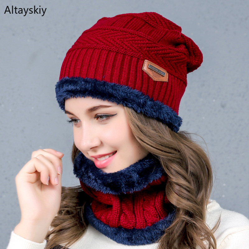 Scarf Hat Sets Women Thick Warm Solid Knitted Plus Velvet Wool Plush Patchwork Womens Hats Soft Simple Trendy All-match Leisure