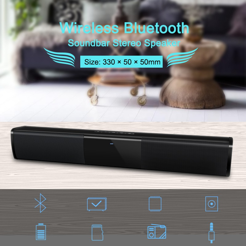 Universal Wireless Soundbar Bluetooth Stereo Speaker TV Home Theater 3D Bass Stereo Soundbar Subwoofer With FM Radio BS-28A
