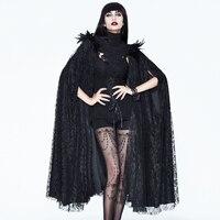 2018 Женское пальто NewEVA в готическом стиле, длинное пальто на Хэллоуин, вечерняя накидка, черный Винтажный кружевной плащ с высоким воротнико