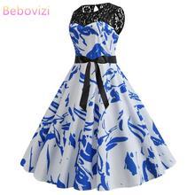 Bebovizi Fashion Women 2019 New Summer Casual Party White Dress Elegant Plus Size Vintage Sexy Lace Flower Print Bandage
