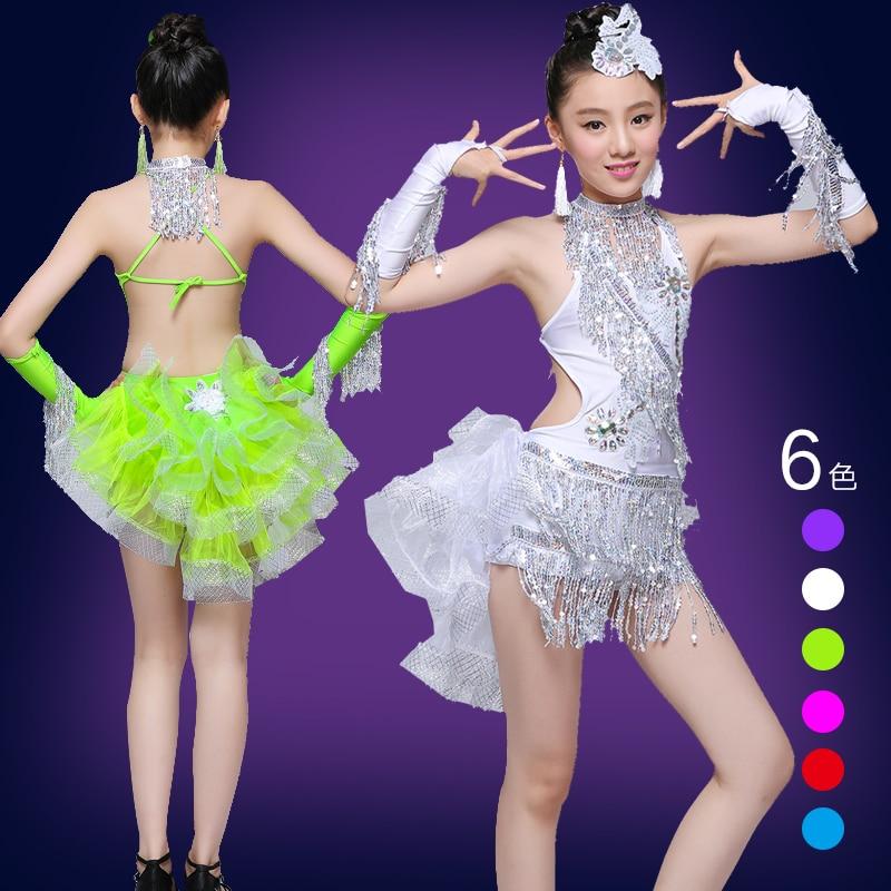 child kid children professional latin dance dress for girls fringe costumes for kids modern junior tassel girl ballroom salsa
