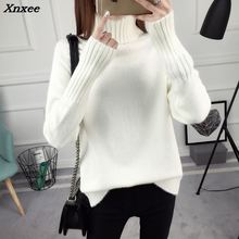 New winter loose high-necked pullovers female qiu dong Han edition long-sleeved joker render sweater thickening Xnxee make more winter fashion knitting maternity dress render han edition mom gradient even clothes