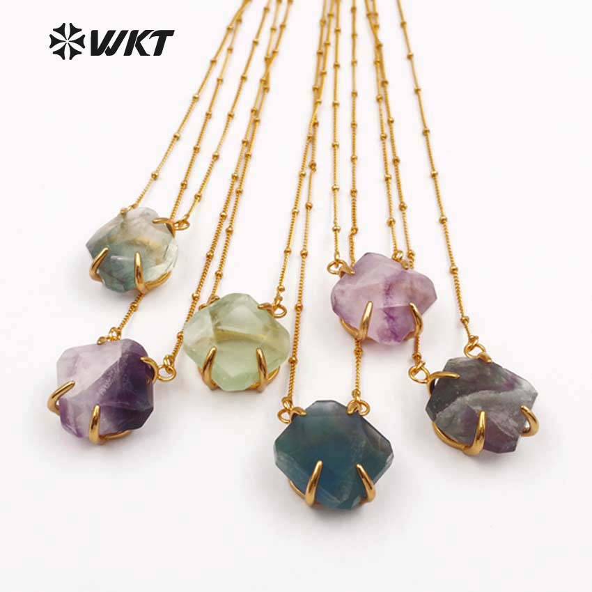 d84269e24f33 WT-N1135 WKT venta al por mayor joyería fluorita Natural 18 pulgadas oro  metal cadena facetada piedra cuadrada colgante multi color opcional