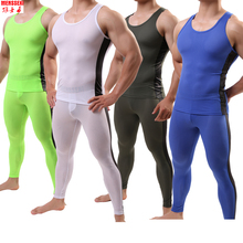 Cycling Base Layer 2018 MENSSEXI Brand Men Sports Compression Underwear Sets Running Cycling Gym Mesh Long Johns Leggings