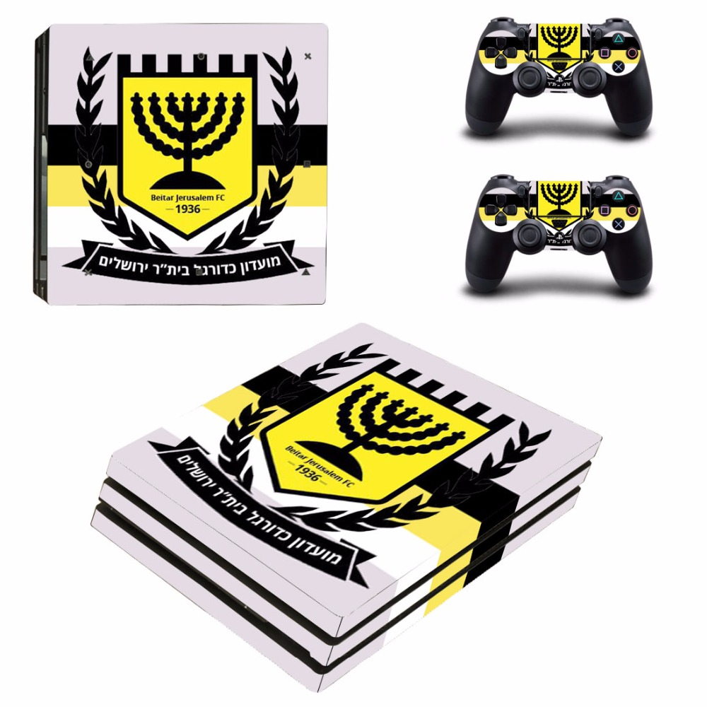Beitar Jerusalem FC PS4 Pro Skin Sticker For Sony PlayStation 4 Console and 2 Controllers PS4 Pro Skins Stickers Decal Vinyl