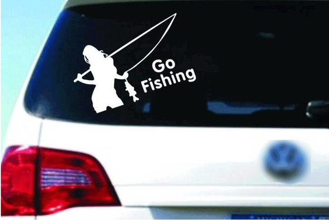 Motorcycle sticker car styling beauty go fishing stickers on car outdoor car styling car decoration