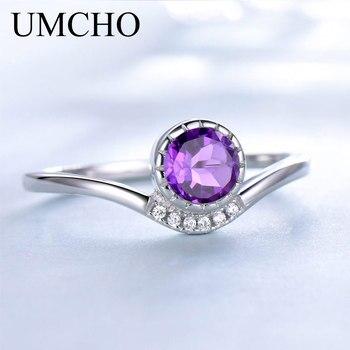 UMCHO a créé l'améthyste pourpre pierre de naissance Solitaire bague solide 925 en argent Sterling anneaux pour les femmes Vintage argent bijoux fins