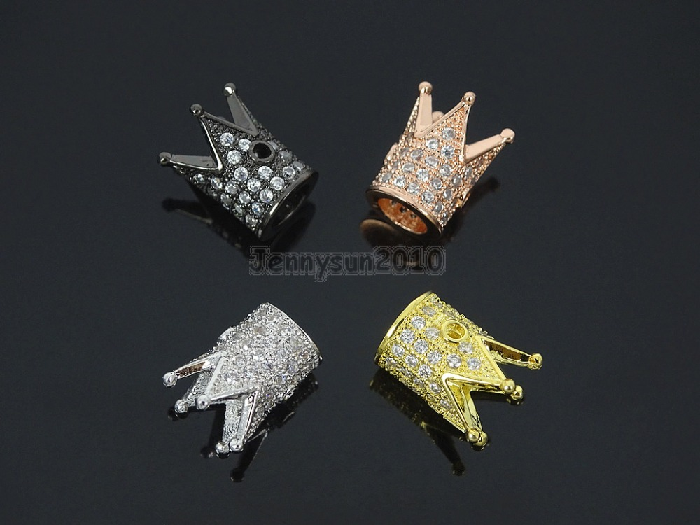 Hospitable Clear Zircon Gems Stones Pave King Crown Bracelet Connector Charm Beads Silver Gold Rose Gold Gunmetal 10pcs/pack Beads