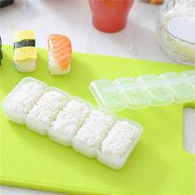 1 Набор пресс-форм японский Нигири рисовый шар пластиковые суши формочка антипригарные пресс принадлежности для бенто Кухня 5 роликовых аксессуаров