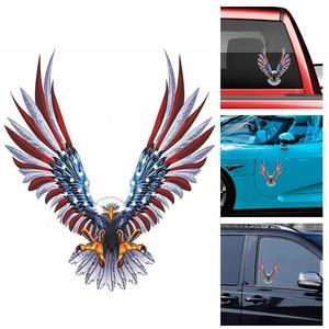 Image 1 - 1pcs Vulture American Flag Refit Sticker Car Body Racing Side Door Long Stripe Stickers Auto Vinyl Decal  Car Stickers