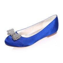 Round toe flats with rhinestone diamond bowknot woman shoes slip on royal blue silver white ivory purple champagne beach wedding