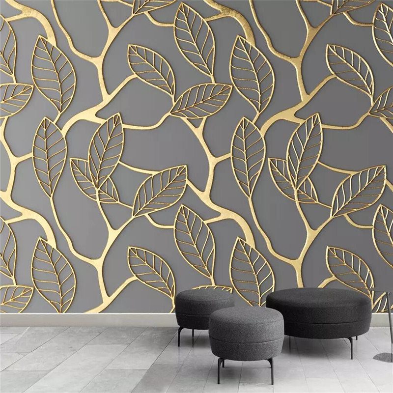 Wallpaper Background Photo-Wall Creative Gold TV Mural Custom Production Leaf Living-Room
