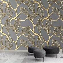 Творческая личность золотой лист Гостиная ТВ фон профессиональное производство Фреска обои на заказ фото стены