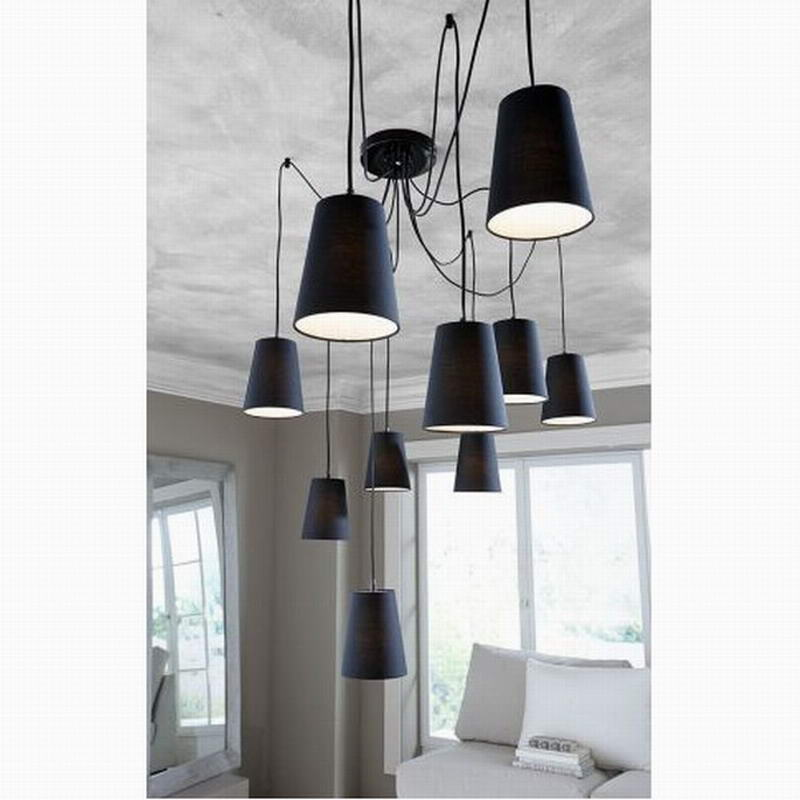 Modern large black spider braided pendant lamp DIY 10 heads Clusters of Hanging black fabric shades