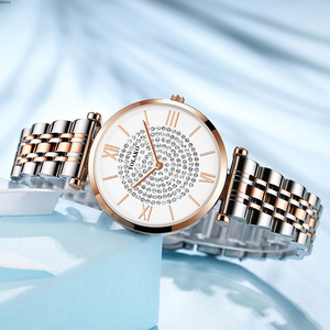 Image 4 - Gypsophila Diamond Design Women Watches Fashion Silver Round Dial Stainless Steel Band Quartz Wrist Watch Gifts relogiosfeminino