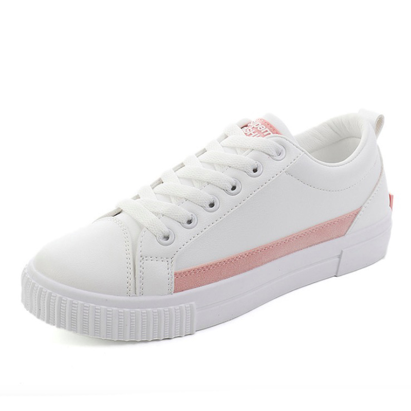 Women Casual Shoes 2018 Spring Autumn PU Leather Women Shoes Flats Lace-Up Fashion Breathable White Women Sneakers asumer white spring autumn women shoes round toe ladies genuine leather flats shoes casual sneakers single shoes
