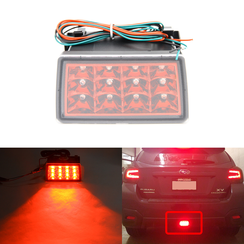 Red Lens F1 Style Led Rear Fog Brake Lights Kit Fit For Subaru WRX STi Impreza XV Crosstrek Car-Styling Brilliant Red Lights cyan soil bay led rear bumper reflector brake fog lights for subaru exiga levorg wrx sti legacy xv crosstrek impreza 11 12 13