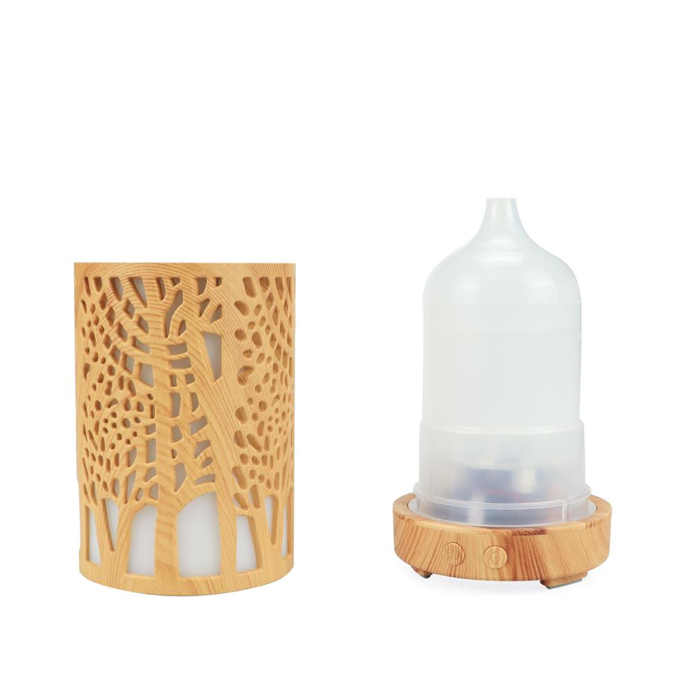 aroma diffuser ultrasonic air humidifier 100ml essential oil diffuser 7 Color Changing LED Lights air humidifier with Wood Grain