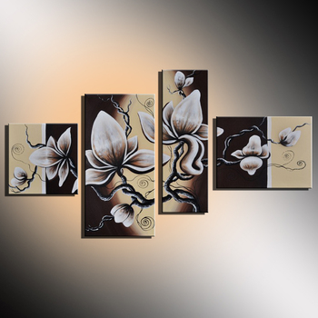Hand Painted 4 Panel Modern Abstract White Flower Oil Painting for Living Room Pictures Combination Home Wall Art Decor Unframed