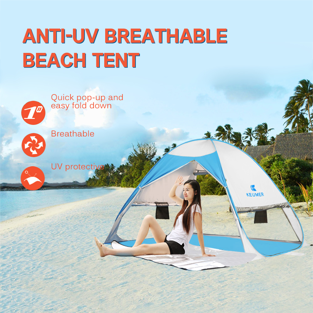 KEUMER Lightweight 1 2 people Beach Tent Automatic Instant Pop Up Camping Tent UV Protection Sun