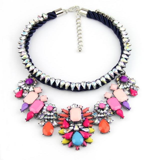 2014 venda quente luxo cristal Chunky colares mulheres declaração colar Shourouk