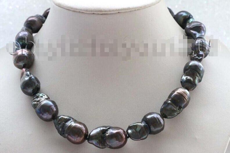 A 18 Genuine Natural 27mm Black Reborn Keshi Pearl Necklace 14KGP #f1769 цена