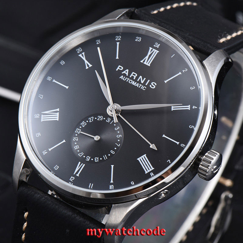 42mm Parnis black date 24 Hours Handset ST1690 Automatic Movement Mens Watch 952|watch men|watch men watch|watch watch - title=