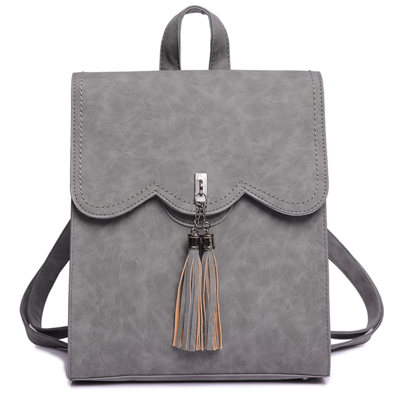 все цены на Leisure Leather Backpack Women Tassel Mochilas Black Sac A Dos Gray Woman Rugzak Feminine Backpacks for Teenage Girls Bagpack