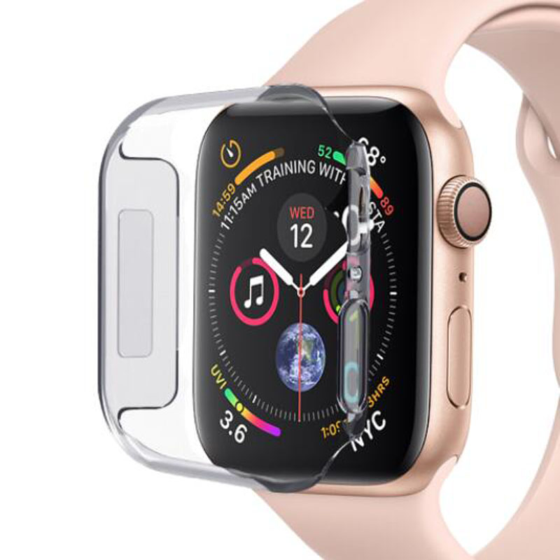 PC Hard Clear Protective Case Shell Frame For Iwatch Apple Watch Series 2/3/4/5 38mm 42mm 40mm 44mm Screen Protector Glass Cover