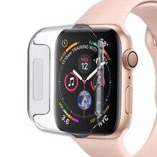 PC sert koruyucu kabuk çerçeve için iwatch Apple izle serisi 2/3/4/5/6/SE 38mm 42mm 40mm 44mm ekran koruyucu cam kapak