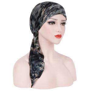 Image 1 - Мусульманская женская мягкая шапка тюрбан, предварительно связанный шарф, хлопковая шапочка при химиотерапии, шапка, бандана, головной платок, повязка на голову, аксессуары для волос с раком