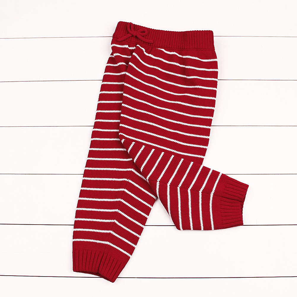 Hot 2018 Autumn Children's Wear Boys Winter Pants Leggings Girls Striped Knitted Pants Warm Fashion Baby Pants Kids Sport Outfit girls slogan print tee with striped pants