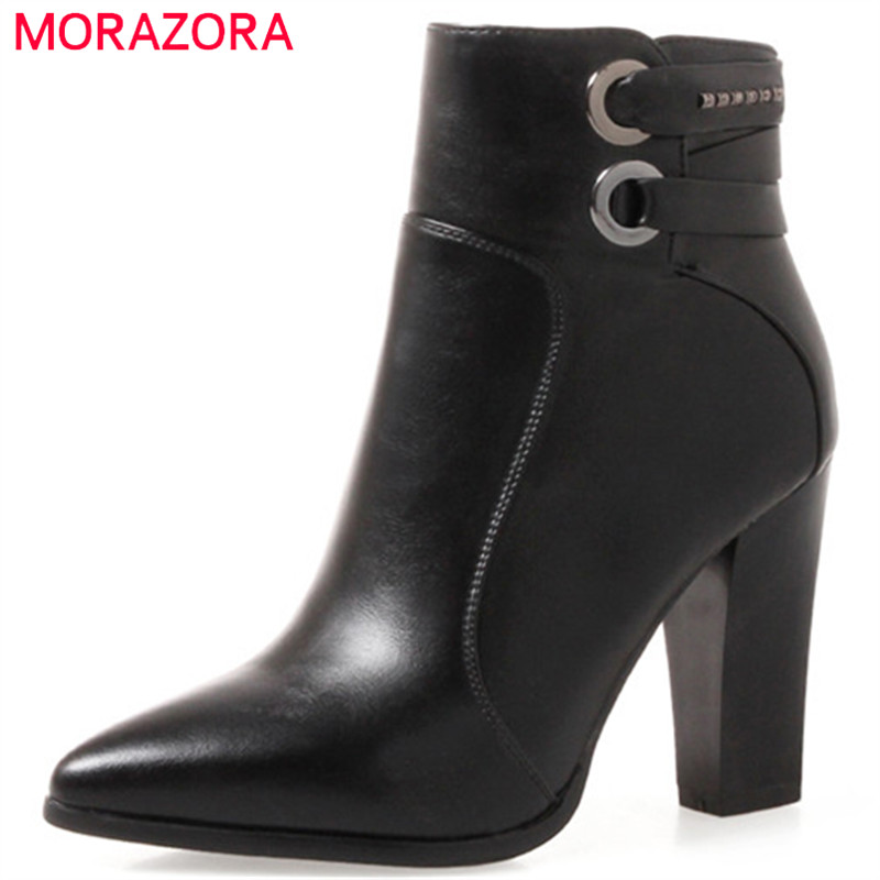 MORAZORA Two colors boots female fashion shoes woman high heels ankle boots for women PU soft leather pointed toe zip size 34-43 hee grand women ankle boots for 2017 new autumn solid pu pumps shoes pointed toe high heels boot shoes woman size 35 43 xwx4253
