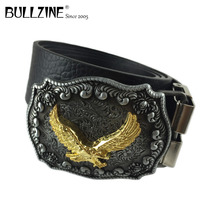 The Bullzine western flying eagle mens cowboy belt buckle with pewter finish with PU belt connecting clasp FP 03523