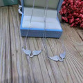 Designer Fashion 925 Sterling Silver Jewelry Platinum Plated 3A Cubic Zirconia Wing Necklace