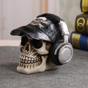 Image 3 - MRZOOT estatuas artesanales de resina para decoración, calavera con auriculares, decoración de barras de música, Calavera creativa
