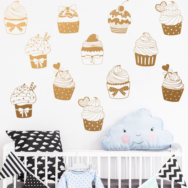 24 Pcs Cute Wall Decor Unique Cupcake Decals S Room Removable Vinyl Stickers Diy